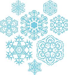 Восемь снежинок (трафарет для рисования)