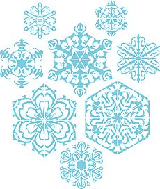 Восемь снежинок III (художественный трафарет)