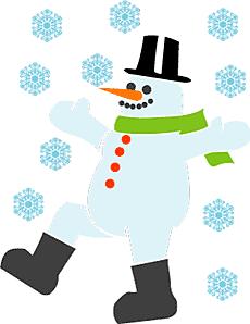 Шагающий снеговик (трафарет для декора)