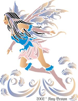 Фея ветра (трафарет для росписи)