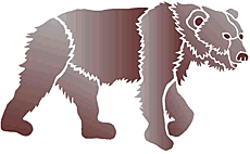 Гуляющий медведь (трафарет для рисования)