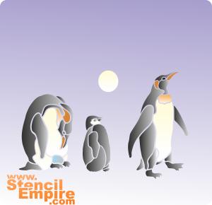 Семья пингвинов (трафарет для росписи)