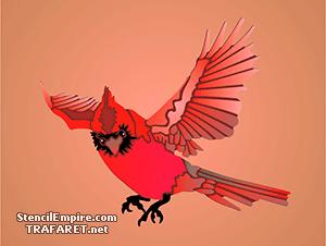 Трафарет птицы Красный Кардинал 2