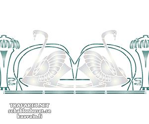 Трафарет Бордюр с лебедями
