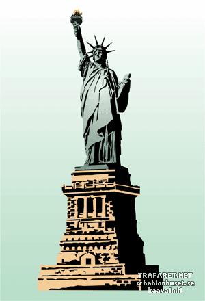Трафарет Статуя Свободы на постаменте