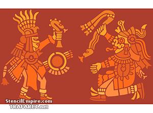 Боги Ацтеков (художественный трафарет)