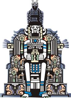 Божество ацтеков (трафарет для покраски)