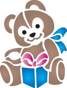 Плюшевый мишка 1 (трафарет для рисования)