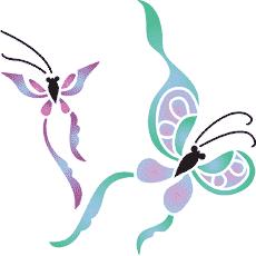 Восточные бабочки (трафарет для рисования)