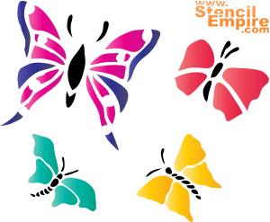 Четыре бабочки (трафарет для росписи)