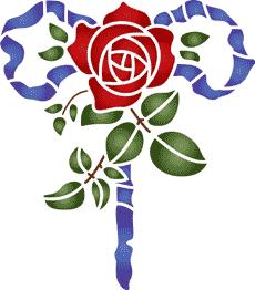 Роза и лента (трафарет для покраски)