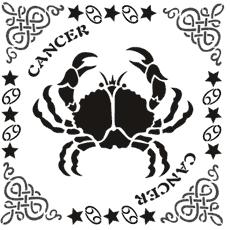 Рак в рамке (трафарет для росписи)