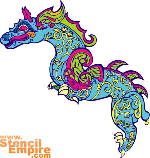 Большой китайский дракон (трафарет для стен)