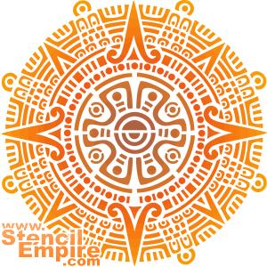 Солнце Ацтеков (трафарет для декора)
