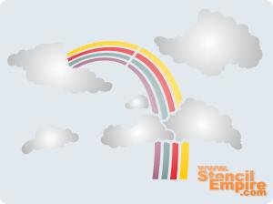 Облака и радуга (трафарет для росписи)
