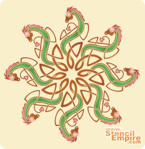 Звезда-дракон (трафарет для рисования)