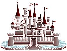 Большой замок (трафарет для рисования)