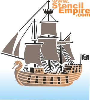 Пиратский корабль (трафарет для стен)