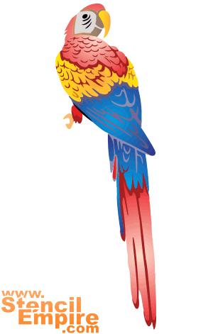 Попугай (трафарет для рисования)