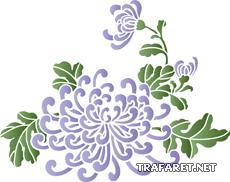 Мотив китайских хризантем (трафарет для рисования)