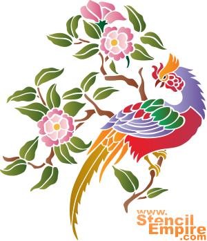 Фазан и сакура (трафарет для декора)