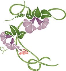 Вьюнок и бабочка (трафарет для покраски)