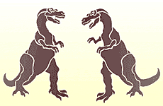 Пара тиранозавров (трафарет для стен)