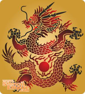 Солнечный дракон (трафарет для рисования)