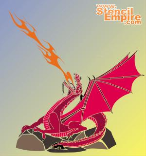 Огнедыщащий дракон 2 (художественный трафарет)