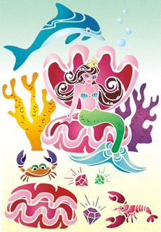 Дельфин и русалка (трафарет для рисования)