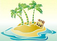 Остров сокровищ (трафарет для рисования)