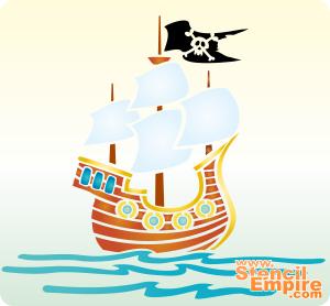 Корабль на волнах (трафарет для росписи)