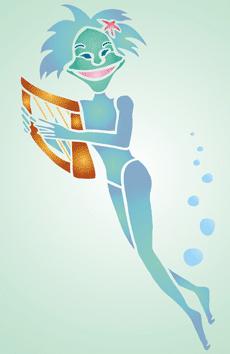 Игрок на арфе (трафарет для росписи)