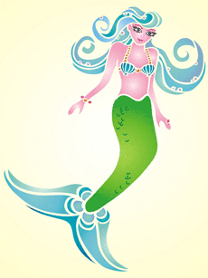Волшебная русалка (трафарет для декора)