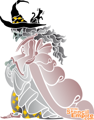 Колдунья (трафарет для рисования)