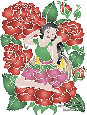 Трафарет Фея в розах