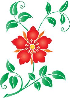 Цветок из сказки (трафарет для росписи)