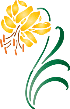Желтая лилия (художественный трафарет)