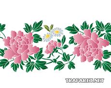 Хризантемы и ромашки Б (трафарет для стен)
