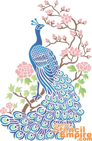 Павлин и сакура (трафарет для декора)