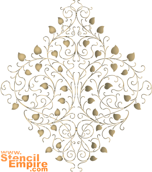 Медальон листочками (трафарет для покраски)