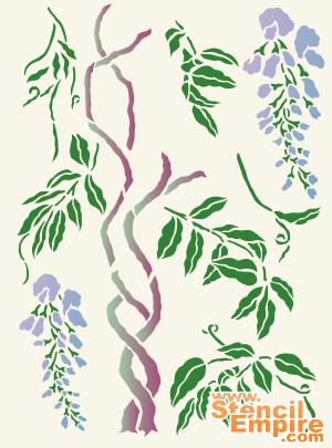 Растущая глициния (художественный трафарет)