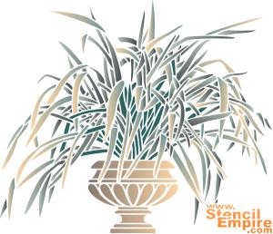 Трава в горшке (трафарет для декора)