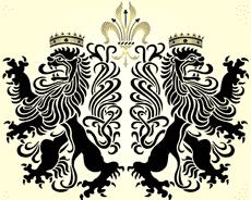 Львы геральдик (трафарет для рисования)