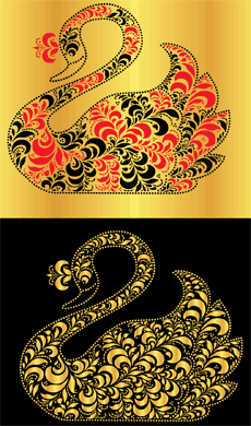 Хохломской лебедь (художественный трафарет)