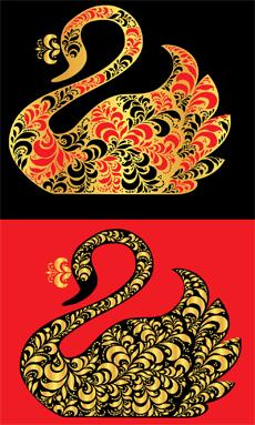 Хохломской лебедь 2 (трафарет для росписи)