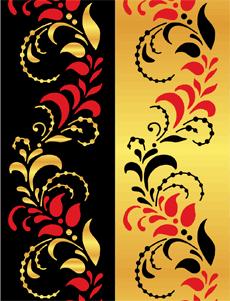 Хохломской бордюр (трафарет для декора)