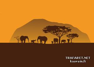 Африканский пейзаж (трафарет для покраски)