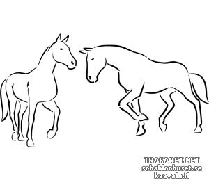 Трафарет Две лошади 4а