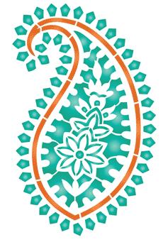 Изумрудный пейсли (трафарет для декора)